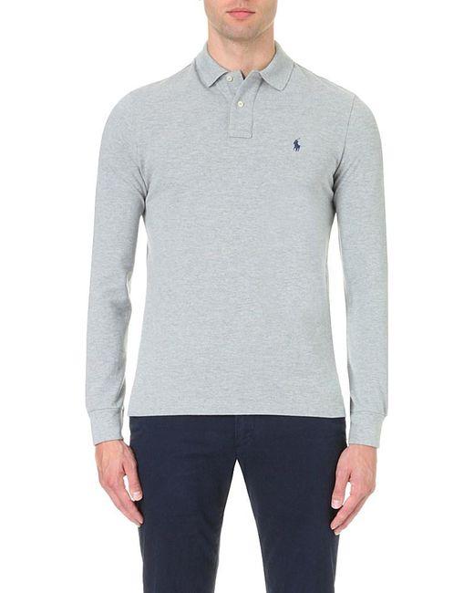 Polo Ralph Lauren   Gray Custom-fit Cotton-piqué Polo Shirt for Men   Lyst