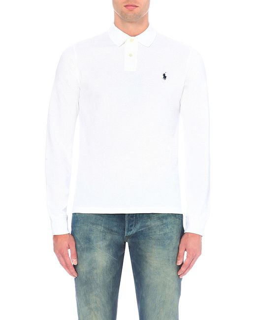 Polo Ralph Lauren | White Slim-fit Cotton-piqué Polo Shirt for Men | Lyst