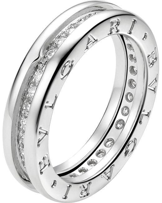 BVLGARI | B.zero1 18kt White-gold And Pavé-diamond Ring | Lyst