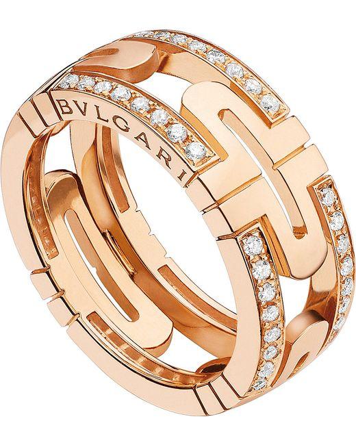 BVLGARI | Parentesi 18kt Pink-gold And Diamond Ring | Lyst