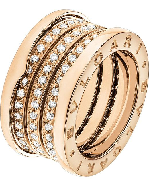 BVLGARI | B.zero1 Four-band 18kt Pink-gold Ring | Lyst