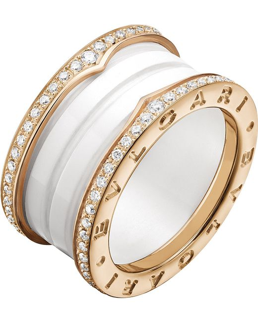 BVLGARI | Metallic B.zero1 Four-band 18kt Pink-gold White Ceramic And Diamond Ring | Lyst