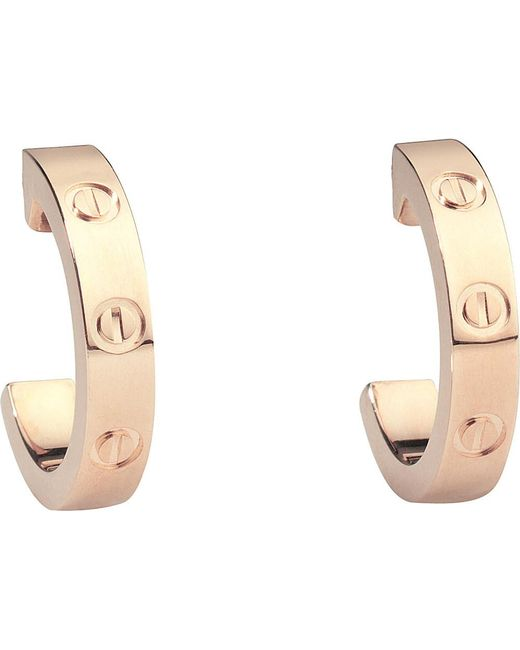 Cartier | Love 18ct Pink-gold Earrings | Lyst