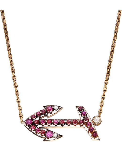 Annina Vogel | Red Bespoke Diamond And Ruby Anchor Necklace | Lyst