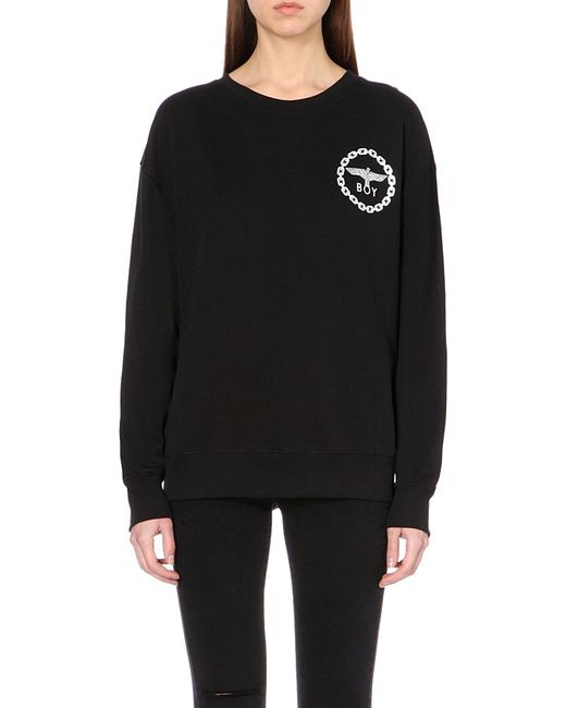BOY London | Black Metallic Eagle Logo Cotton-jersey Sweatshirt | Lyst