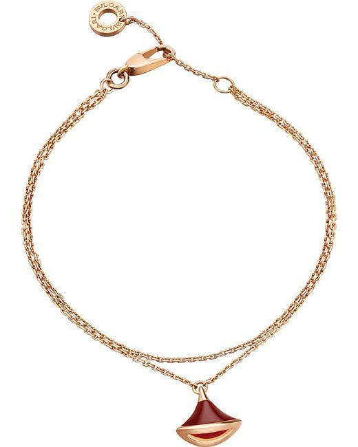 BVLGARI   Divas' Dream 18kt Pink-gold And Carnelian Bracelet   Lyst