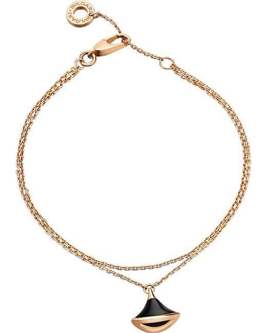 BVLGARI | Metallic Diva 18ct Pink-gold And Onyx Bracelet | Lyst
