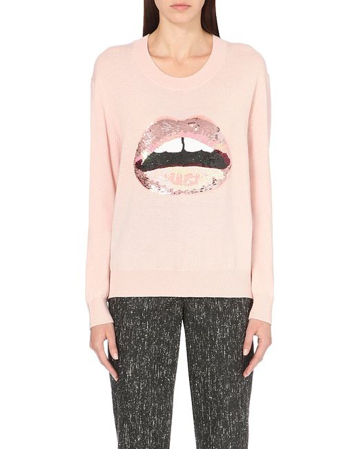 Markus Lupfer | Pink Lara Lip Joey Sequin-embellished Merino-wool Jumper | Lyst
