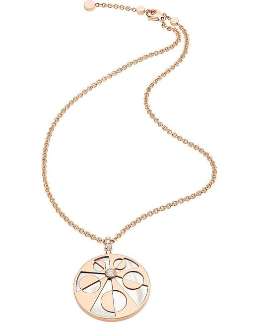 BVLGARI | Metallic Mediterranean Eden 18kt Pink-gold Necklace With Mother Of Pearl And Pavé Diamonds | Lyst