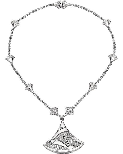 BVLGARI | Metallic Diva 18ct White-gold And Diamond Necklace | Lyst