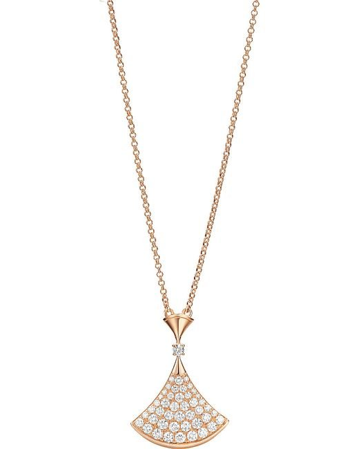 BVLGARI | Divas' Dream 18kt Pink-gold Necklace With Pavé Diamonds | Lyst