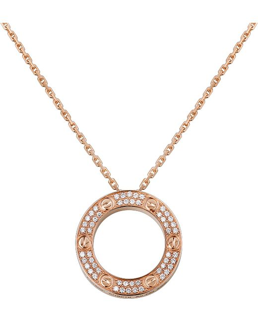 Cartier | Metallic Love 18ct Pink-gold And Diamond Necklace | Lyst