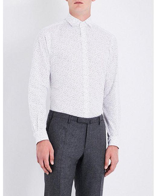Duchamp | Gray Tailored-fit Polka-dot Pattern Shirt for Men | Lyst