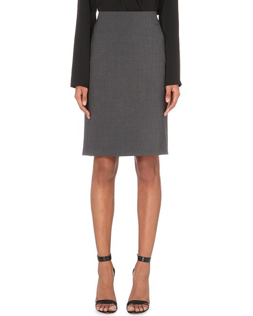 Theory | Gray Stretch-wool Pencil Skirt | Lyst