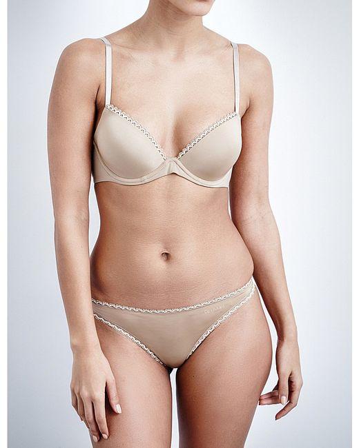 Calvin Klein | Natural Seductive Comfort Underwired Plunge Bra | Lyst