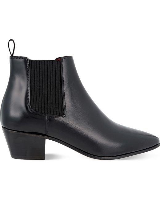 maje finae leather heeled chelsea boots in black lyst
