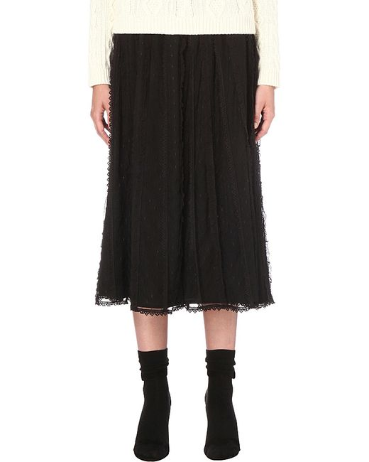 valentino lace a line skirt in black lyst