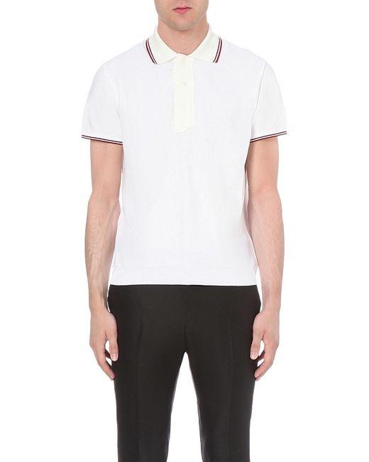 Bally Contrast Collar Cotton Polo Shirt In White For Men