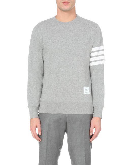 Thom Browne | Gray Striped-detail Cotton-jersey Sweatshirt for Men | Lyst
