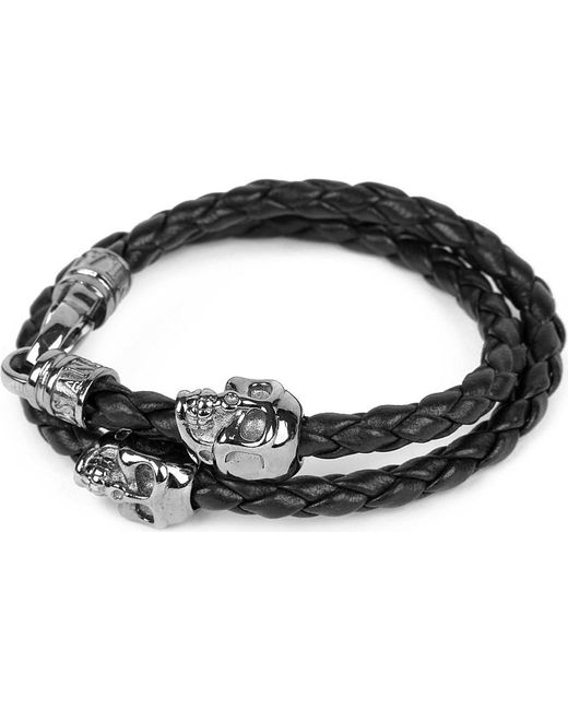 Nialaya | Black Braided Leather And Skull Bracelet | Lyst