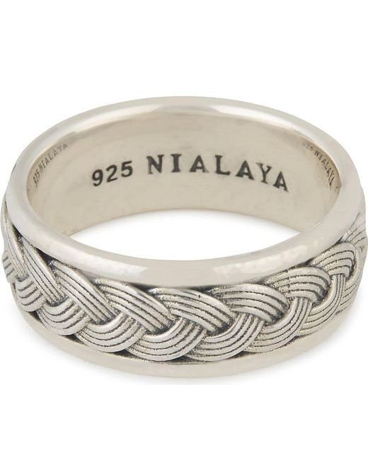 Nialaya | Metallic Woven Cable Ring | Lyst