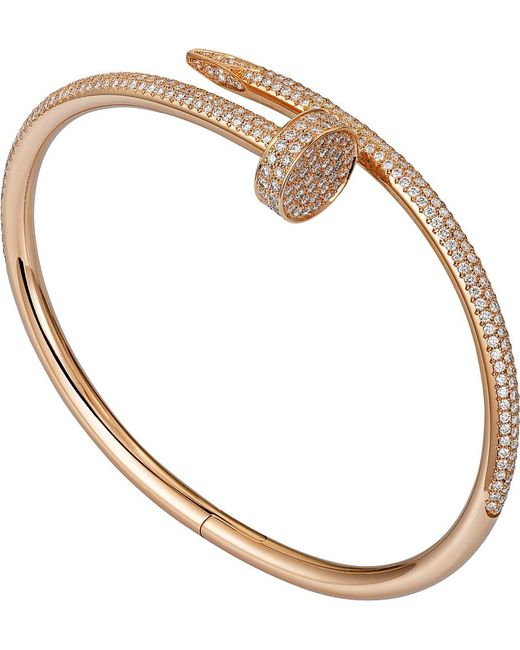 Cartier | Juste Un Clou 18ct Pink-gold And Diamond Bracelet | Lyst