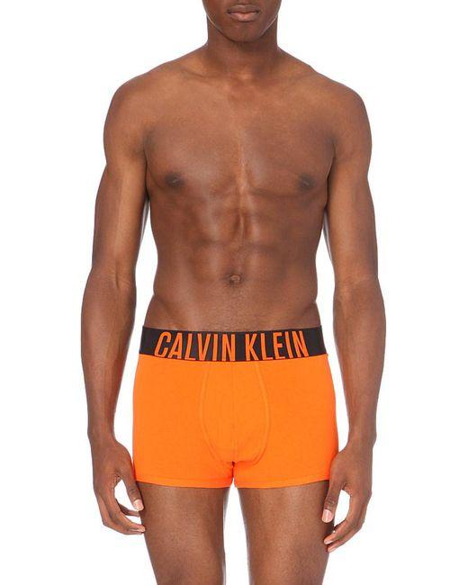 Calvin Klein | Power Branded Cotton Trunks, Men's, Size: M, Orange for Men | Lyst