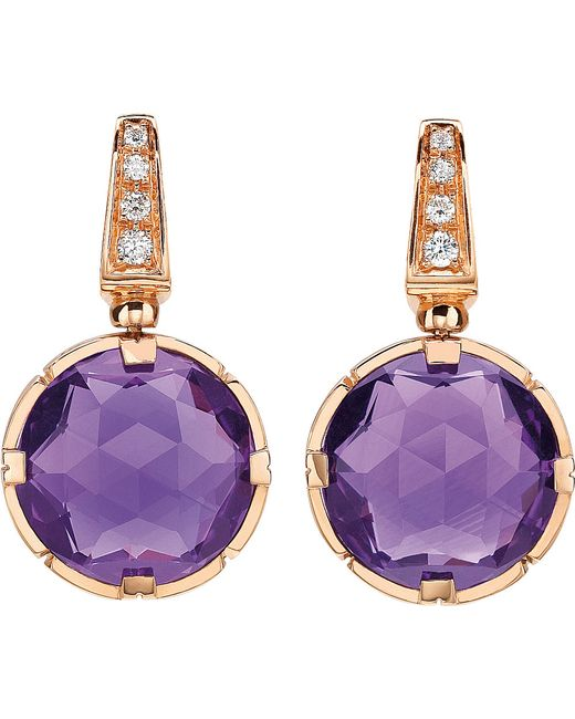 BVLGARI | Purple Parentesi Cocktail 18kt Pink-gold Earrings | Lyst