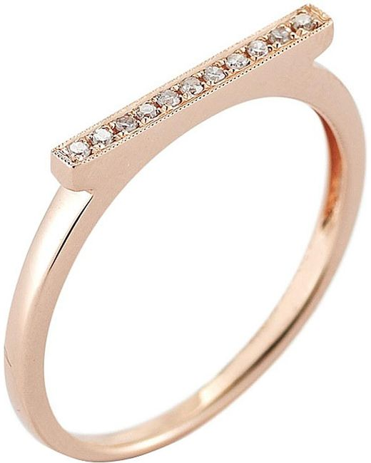 The Alkemistry   Metallic Diamond Bar 14ct Rose-gold Ring   Lyst
