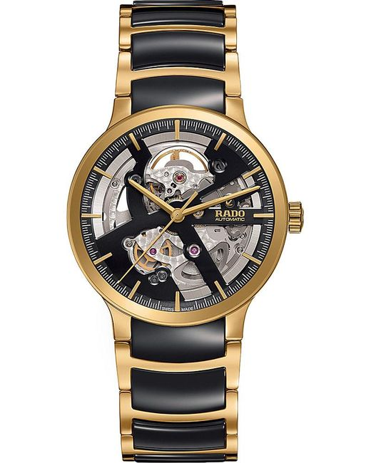 Rado | Metallic R30180162 Centrix Gold And Ceramic Open Heart Watch | Lyst