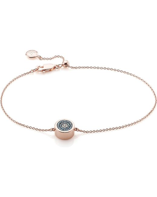 Monica Vinader | Metallic Linear 18ct Rose Gold-plated And Pavé Diamond Toggle Bracelet | Lyst