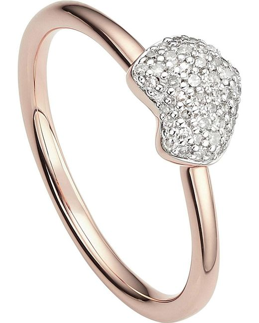 Monica Vinader | Metallic Nura 18ct Rose-gold Vermeil And Diamond Ring | Lyst