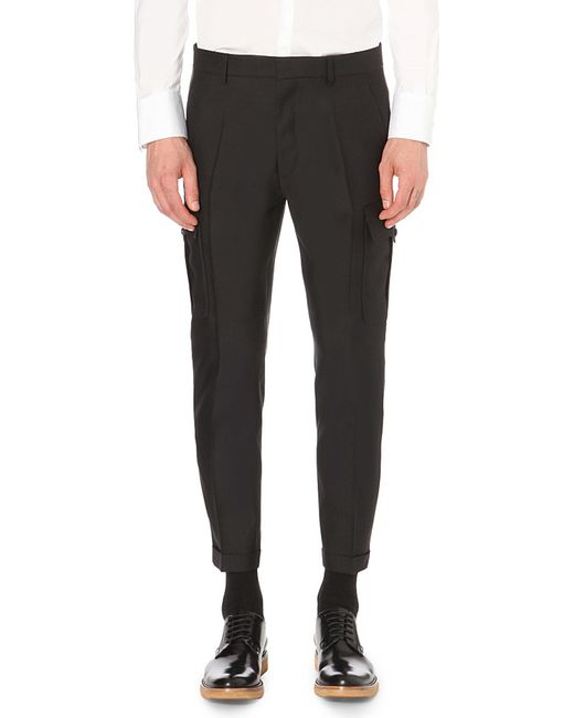 DSquared² | Black Admiral Regular-fit Wool And Silk-blend Trousers for Men | Lyst