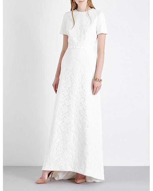 Self portrait rose lace wedding dress in white lyst for Self portrait wedding dress