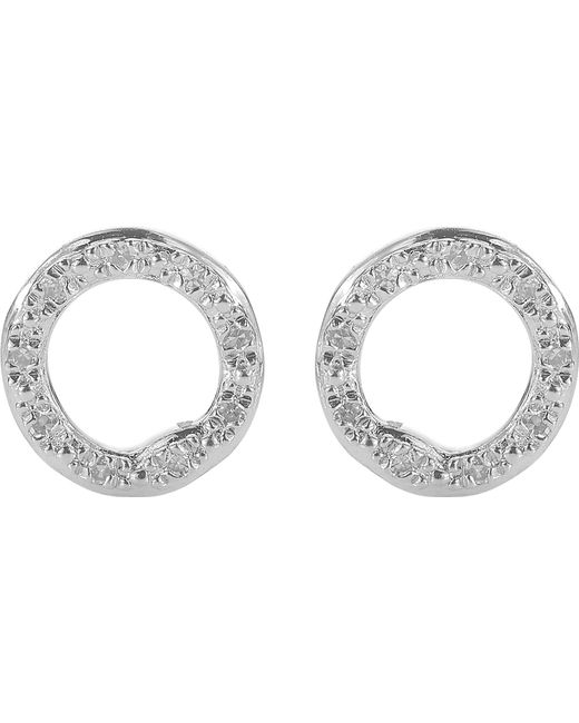 Monica Vinader | Metallic Riva Sterling Silver Pavé Diamond Circle Stud Earrings | Lyst