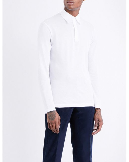 Richard James | White Long-sleeved Cotton-piqué Polo Shirt for Men | Lyst
