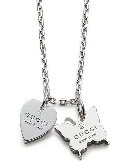 Gucci   Metallic Trademark Sterling Silver Pendant Necklace   Lyst