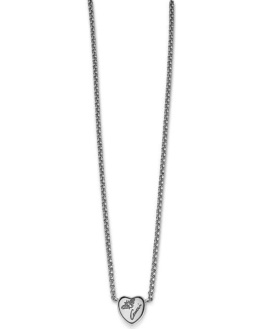 Gucci | Metallic Flora Sterling Silver Heart Necklace | Lyst