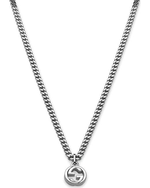 Gucci | Metallic Interlocking G Sterling Silver Necklace | Lyst