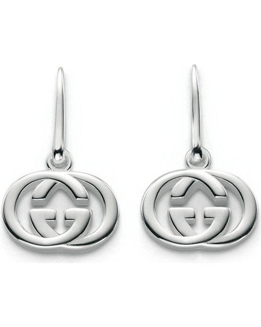 Gucci | Metallic Gg 18ct Silver Drop Earrings | Lyst
