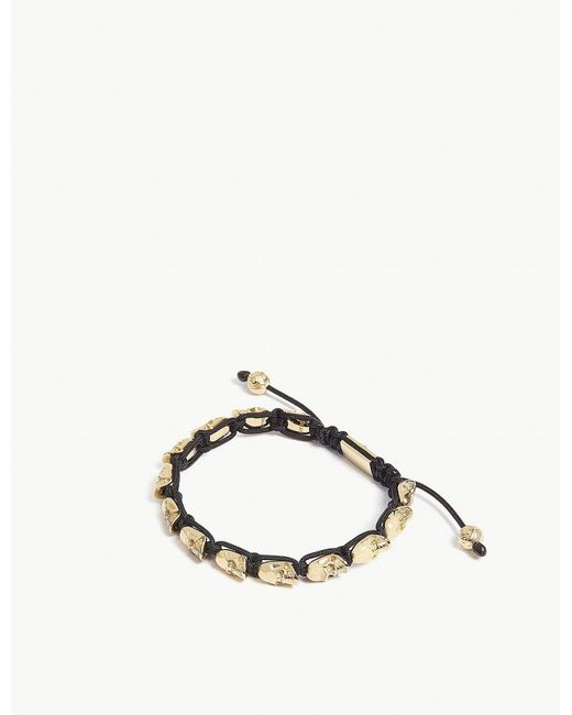 Nialaya - Metallic Skull Bead Bracelet for Men - Lyst