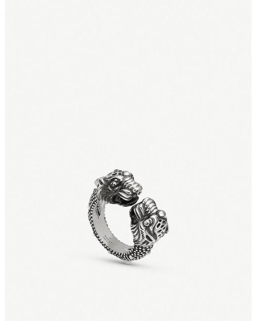 Gucci Metallic Garden Tiger Sterling Silver Ring