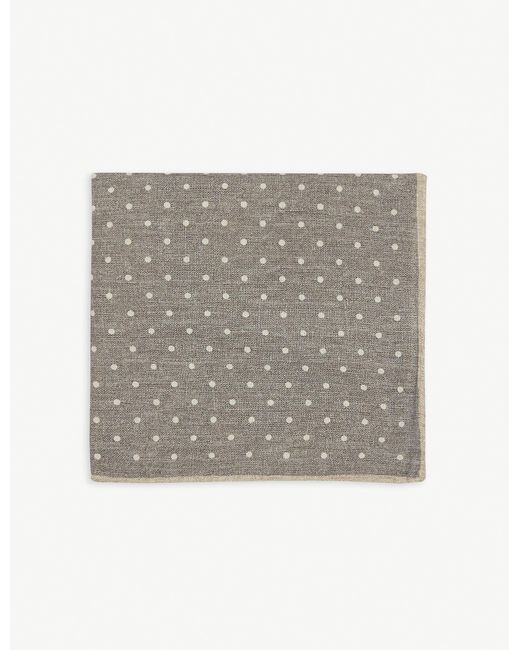 Eleventy Gray Polka Dot Print Wool And Cotton Pocket Square for men