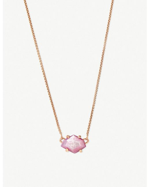 Kendra Scott - Metallic Ethan 14ct Rose Gold-plated And Lilac Mother-of-pearl Necklace - Lyst
