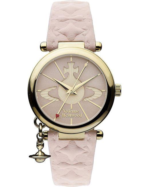 Vivienne Westwood Pink Vv006pkpk Gold-toned Leather Watch