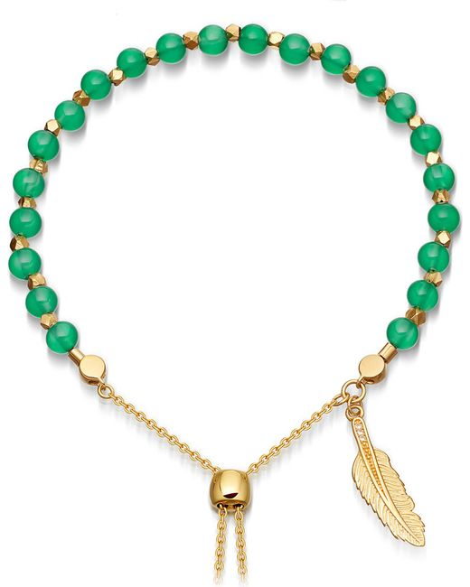 Astley Clarke | Green Onyx Super Kula Feather 18ct Yellow-gold Vermeil Bracelet | Lyst