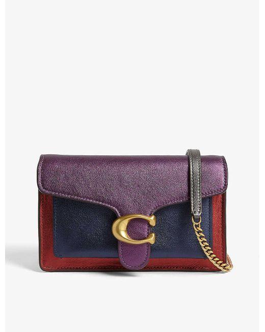 COACH Purple Tabby Leather Shoulder Bag