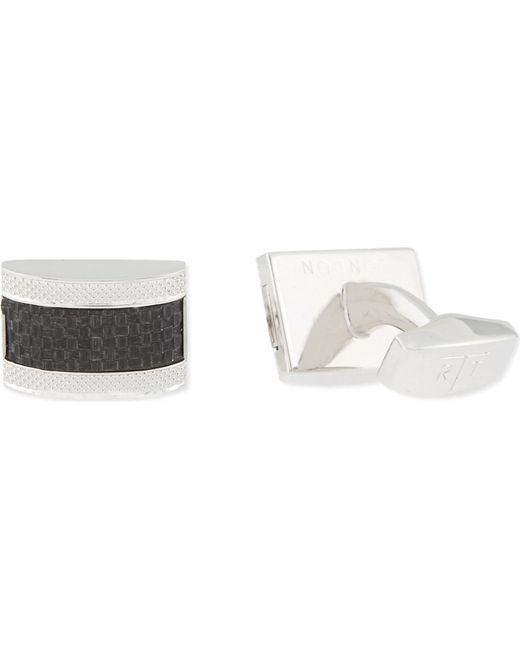 Tateossian | Black Rhodium Carbon Fibre Rectangle Cufflinks for Men | Lyst