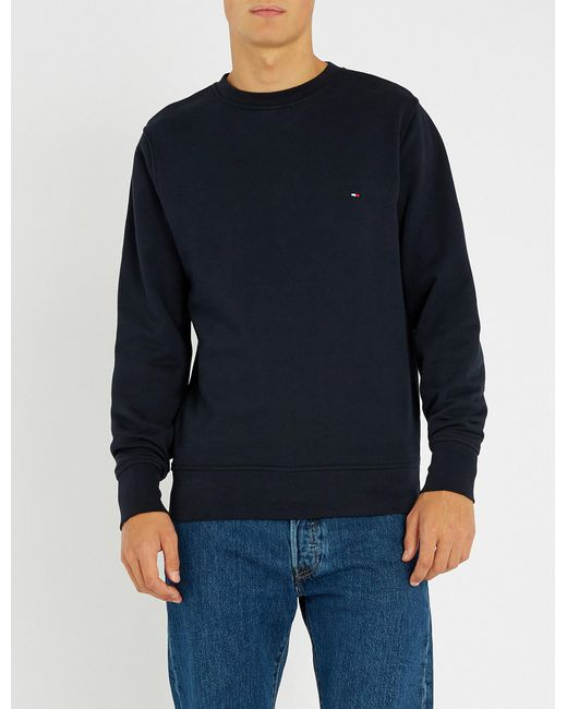 df5e6c53 Lyst - Tommy Hilfiger Logo-embroidered Cotton-jersey T-shirt in Blue ...