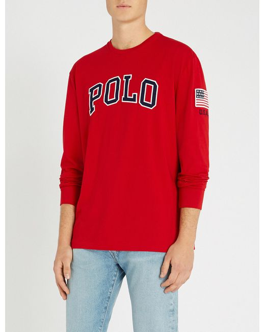 3fa85821c Lyst - Polo Ralph Lauren Logo Long-sleeved Cotton Top in Red for Men ...